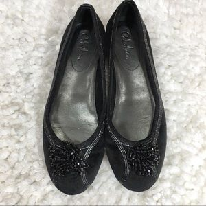 Cole Haan Black Beaded Tassel Toe Ballerina Flats